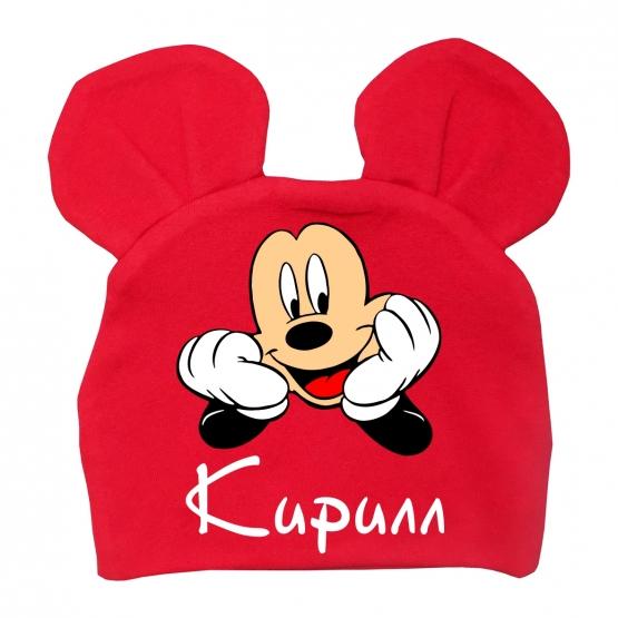 """Детская шапка с ушками """"Микки Маус"""" с любым именем"""