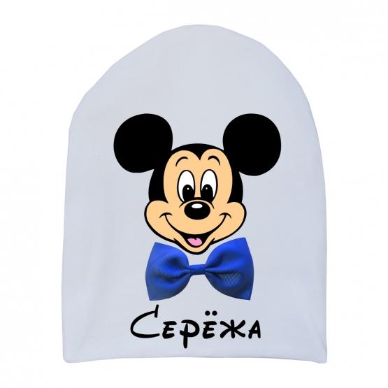 """Шапочка удлинённая """"Микки с бантиком"""""""